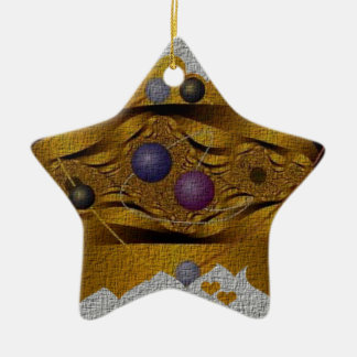 Golden Fractal Surrounded by Hearts Ceramic Ornament