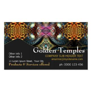 Golden Fractal Temple Art Business Card