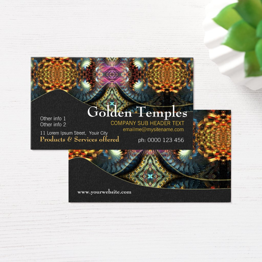 Golden Fractal Temple Art Business Card