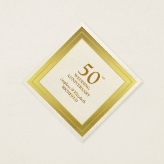 Golden Frame 50th Wedding Anniversary Disposable Napkins