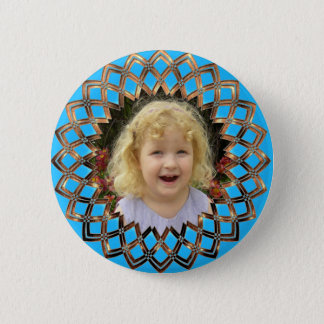 Golden frame for your photo pinback button