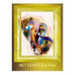 Golden Frame Koi Fish Elegant Art Card Post Cards
