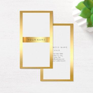 Professional Business Golden Frame Minimal White Metallic Vertical 2 Business Card