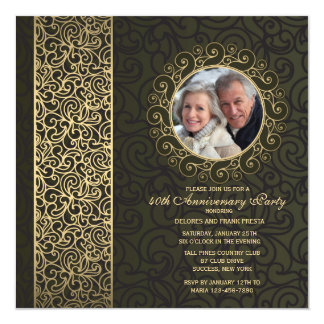 Golden Frame Photo Anniversary Invitation