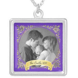 Golden Frame Silver Plated Necklace
