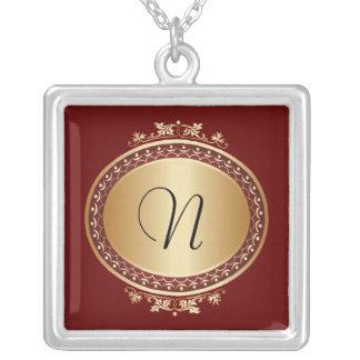 Golden Framed Monogram Burgundy Necklace
