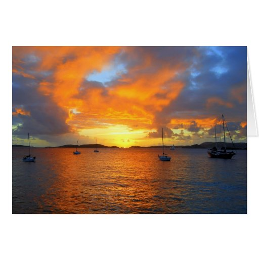 Golden Frank Bay Sunset, St. John, U.S.V.I. Card