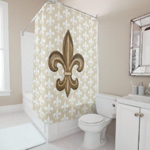 Golden French Fleur De Lis Shower Curtain