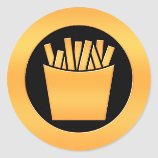 Golden French Fries Classic Round Sticker