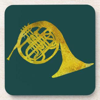 Golden French Horn Beverage Coaster