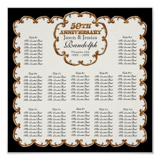 Golden French Swirl 50th Reception Seating Chart Poster