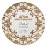 Golden French Swirl Commemorative 50th Anniversary Dinner Plate