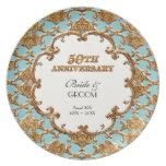 Golden French Swirl Commemorative 50th Anniversary Melamine Plate