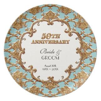 Golden French Swirl Commemorative 50th Anniversary Dinner Plates