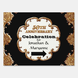 Golden French Swirl Event Signs 50th Anniversary