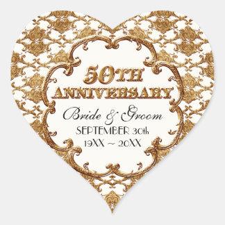 Golden French Swirl Favor Gift 50th Anniversary Heart Sticker