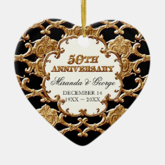 Golden French Swirl Ornament for 50th Anniversary