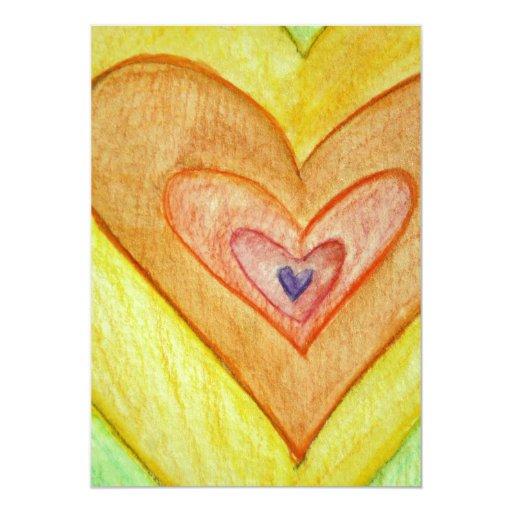 Golden Friendship Hearts Invites or Invitations