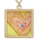 Golden Friendship Hearts Necklace Pendant Charm