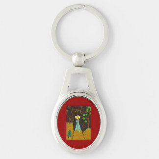 Golden Fur Silver-Colored Oval Metal Keychain