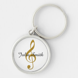 golden g-clef musical note personalized keychain