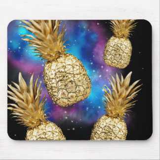 Golden galaxy pineapple mouse pad