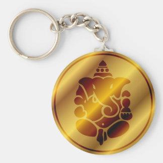 Golden Ganesha Design Keychain