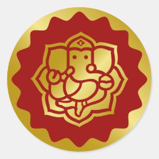 Golden Ganesha Design Classic Round Sticker
