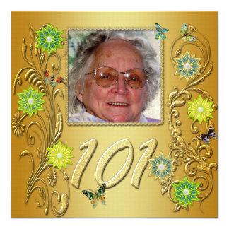 Golden Garden 101st Birthday party invitation