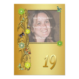 Golden Garden 19th Birthday party invitation