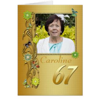 Golden Garden 67th Photo Birthday Card