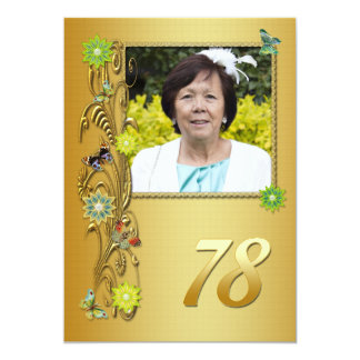 "Golden Garden 78th Birthday party invitation 5"" X 7"" Invitation Card"
