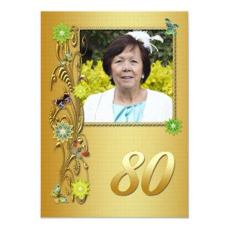 Golden Garden 80th Birthday party invitation
