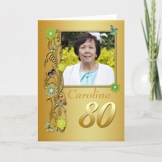 Golden Garden 80th Photo Birthday Card