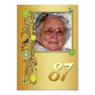 Golden Garden 87th Birthday party invitation