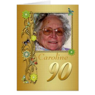 Golden Garden 90th Photo Birthday Card