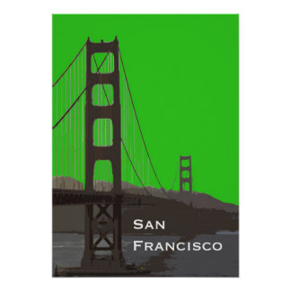 Golden Gate Abstract in Green Poster