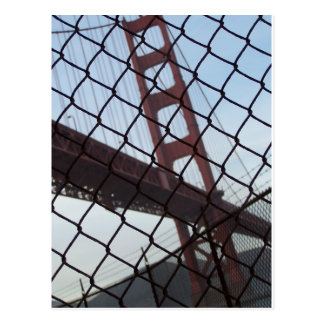 Golden Gate behind a fence Postcard
