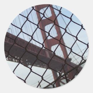 Golden Gate behind a fence Classic Round Sticker