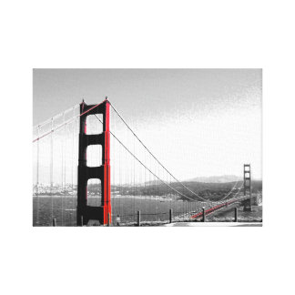 """Golden Gate - Black/White/Red"" Wrapped Canvas"