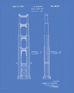 Golden Gate Bridge 1932 Patent Art Blueprint Poster