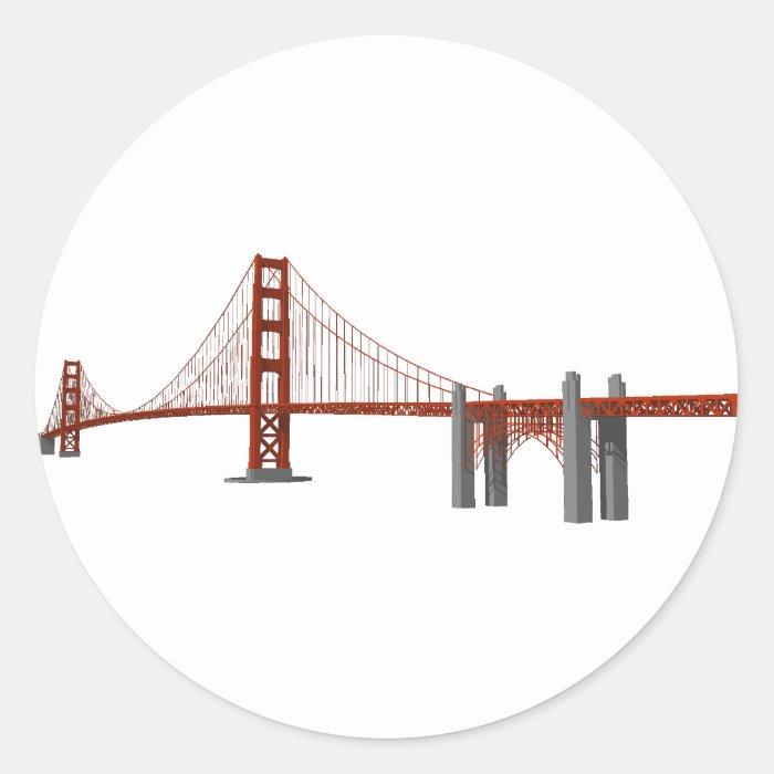 Golden Gate Bridge: 3D Model: Classic Round Sticker