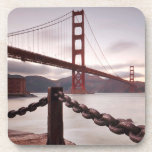 Golden Gate Bridge against mountains Drink Coaster