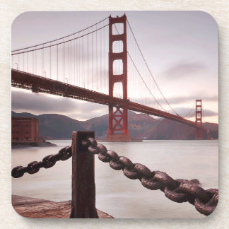 Golden Gate Bridge against mountains Drink Coaster