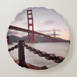 Golden Gate Bridge against mountains Round Pillow