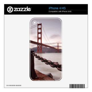 Golden Gate Bridge against mountains Skin For iPhone 4