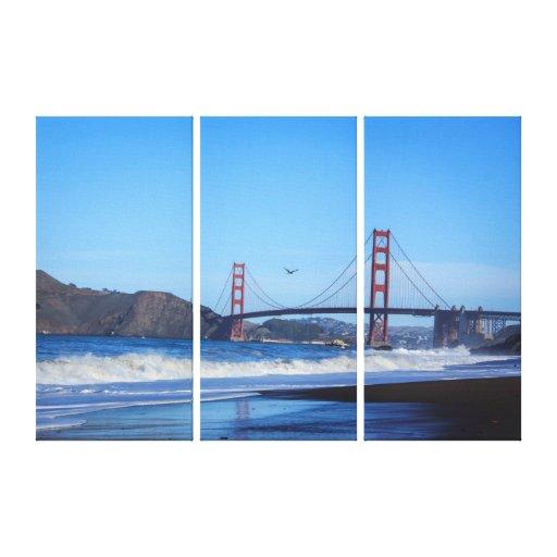 golden gate bridge and beach triptych wall art canvas print. Black Bedroom Furniture Sets. Home Design Ideas