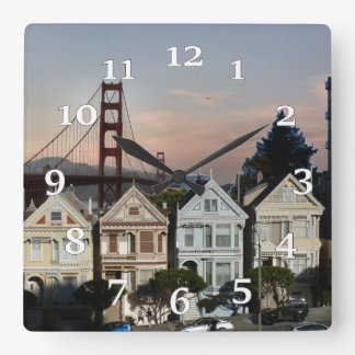 Golden Gate Bridge And Painted Ladies Square Wall Clock