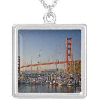 Golden Gate Bridge and San Francisco 2 Square Pendant Necklace