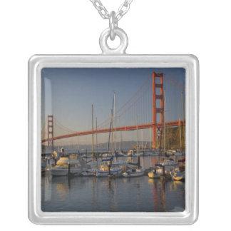 Golden Gate Bridge and San Francisco 4 Square Pendant Necklace